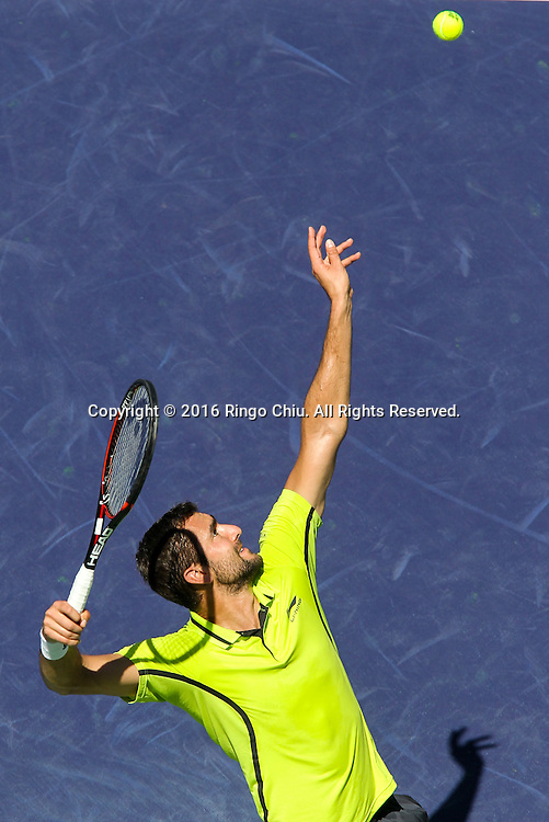 Marin Cilic of Croatia in actions against David Goffin of Belgium during the men singles quaterfinals of the BNP Paribas Open tennis tournament on Thursday, March 17, 2016 in Indian Wells, California.  Goffin won 7-6, 6-2.(Photo by Ringo Chiu/PHOTOFORMULA.com)<br /> <br /> Usage Notes: This content is intended for editorial use only. For other uses, additional clearances may be required.