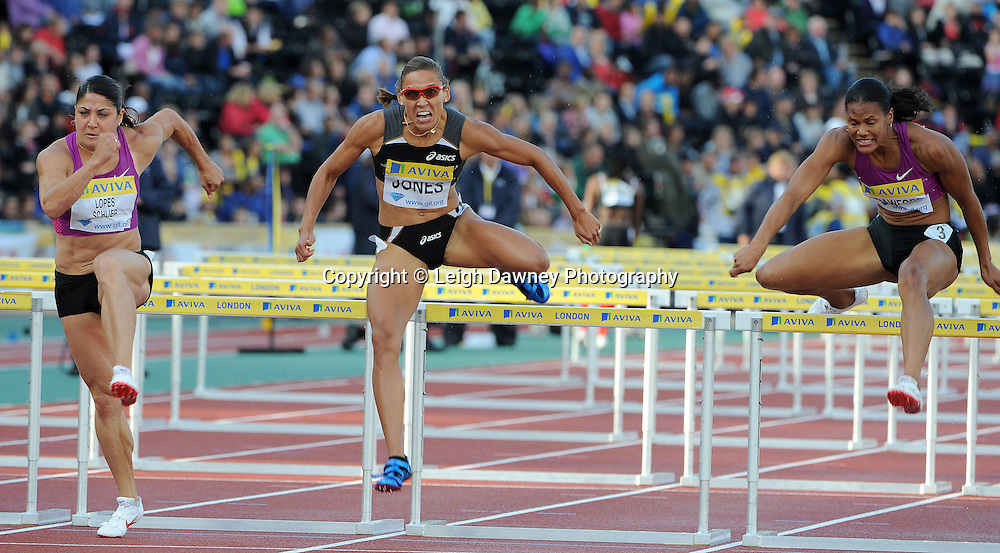 Lolo Jones 110m (centre) hurdles at The Aviva Grand Prix World Athletics at Crystal Palace UK on 13th August 2010. © Photo credit: Leigh Dawney