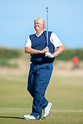 Colin Montgomery playes hos tee shot on the 11th during round 3 of the Seniors Open St Andrews, West Sands, Scotland on 28 July 2018. Picture by Malcolm Mackenzie.
