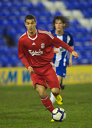 BIRKENHEAD, ENGLAND - Thursday, March 25, 2010: Liverpool's Nikola Saric in action against Wigan Athletic during the FA Premiership Reserves League (Northern Division) match at Prenton Park. (Photo by David Rawcliffe/Propaganda)