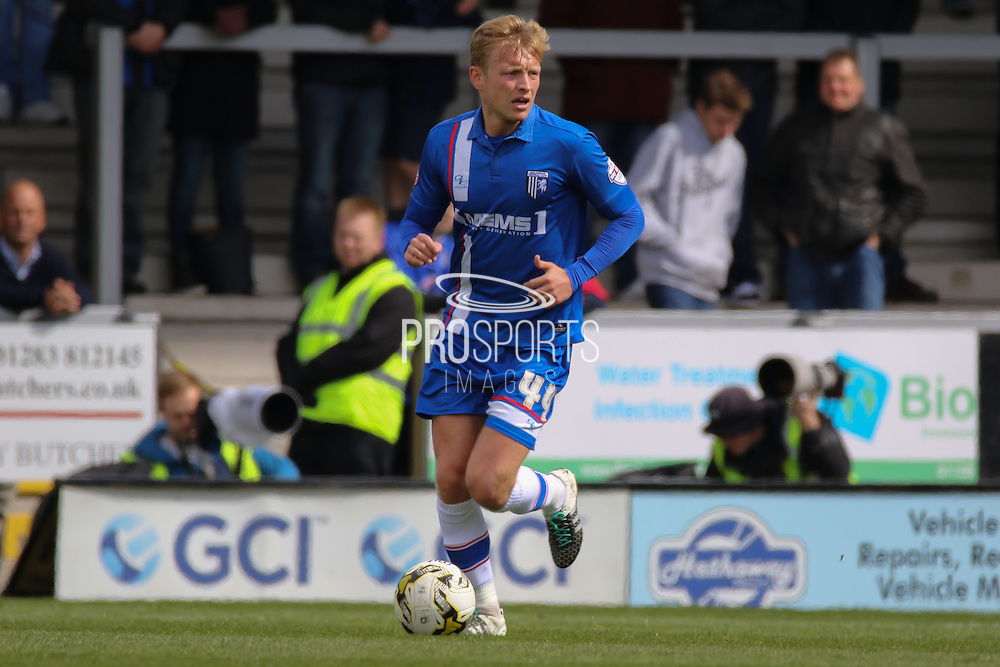 Gillingham midfielder Josh Wright looks for a pass during the Sky Bet League 1 match between Burton Albion and Gillingham at the Pirelli Stadium, Burton upon Trent, England on 30 April 2016. Photo by Aaron  Lupton.