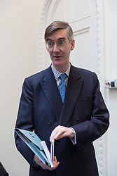 © Licensed to London News Pictures. 27/03/2018. London, UK. Jacob Rees-Mogg arrives to speak at a pro Brexit event organised by the campaign group, Leave Means Leave.. Photo credit: Vickie Flores/LNP
