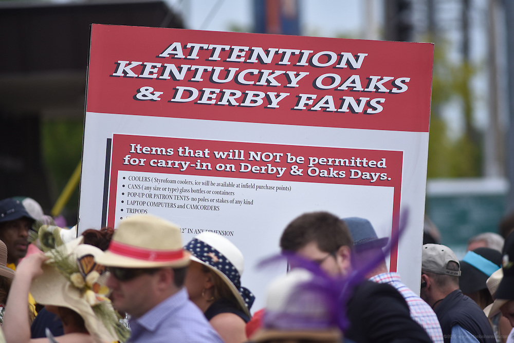A sign on the ramp up to Gate 3, the entrance to the infield,  lists prohibited items for the 142nd running of the Kentucky Derby. May 7, 2016
