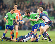 during the Round 17 match of the 2013 Super Rugby Championship between RaboDirect Rebels vs Highlanders at AAMI Park, Melbourne, Victoria, Australia. 12/07/0213. Photo By Lucas Wroe