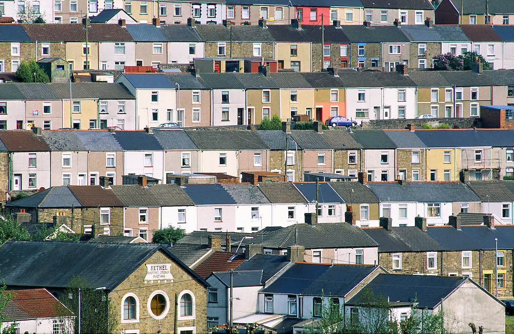 Tredegar town village coal mining community terraced houses and Bethel Baptist Church, Gwent, south Wales.