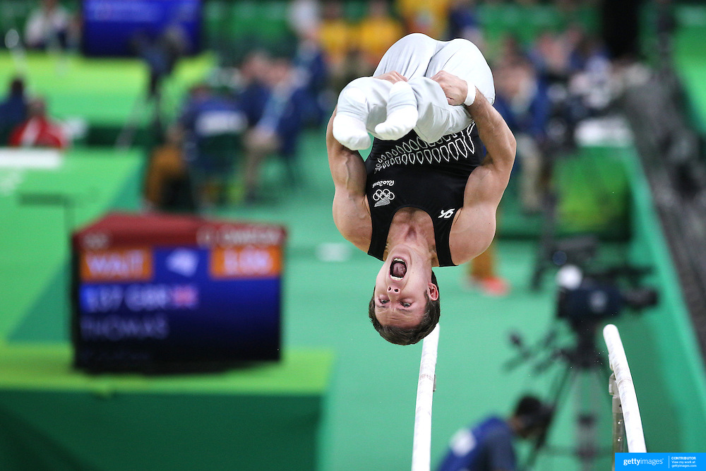 Gymnastics - Olympics: Day 1  Mikhail Koudinov, New Zealand, performing on the Parallel bars during the Artistic Gymnastics Men's Qualification round at the Rio Olympic Arena on August 6, 2016 in Rio de Janeiro, Brazil. (Photo by Tim Clayton/Corbis via Getty Images)