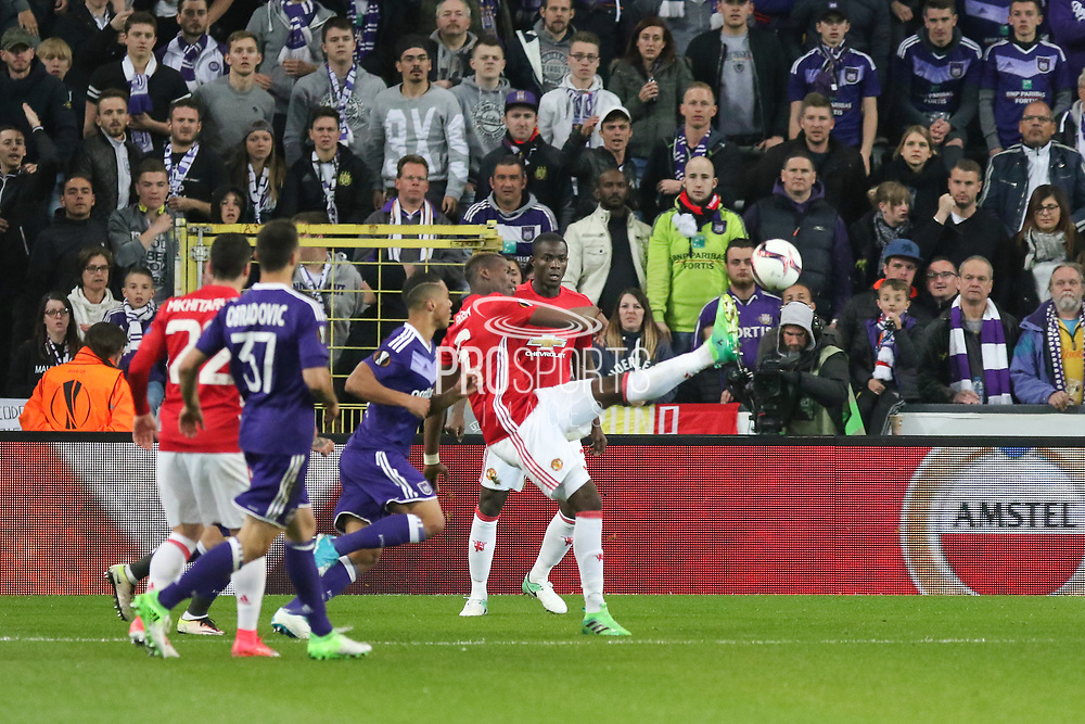 Paul Pogba Midfielder of Manchester United clears during the UEFA Europa League Quarter-final, Game 1 match between Anderlecht and Manchester United at Constant Vanden Stock Stadium, Anderlecht, Belgium on 13 April 2017. Photo by Phil Duncan.