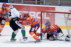 Petr Sachl (HDD Tilia Olimpija, #12) vs Michal Fikrt (HK Acroni Jesenice, #37) during ice-hockey match between HK Acroni Jesenice and HDD Tilia Olimpija in 50th Round of EBEL league, on Februar 15, 2011 at Dvorana Podmezaklja, Jesenice, Slovenia. (Photo By Matic Klansek Velej / Sportida.com)