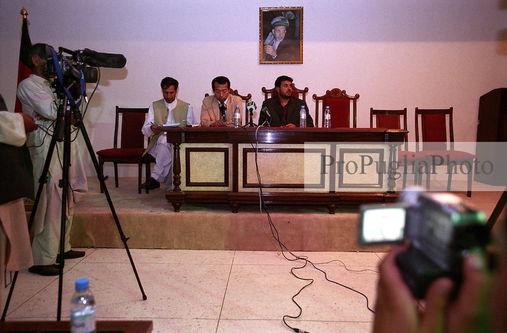 The Governor of Kandahar Haji Asadullah Khalid - pictured on the right, and he Ambassador of Japan Nirihiro Okuda - in the middle, holding a press conference about Japan investements in the Kandahar region...