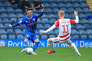 Zach Clough shoots during the EFL Sky Bet League 1 match between Rochdale and Doncaster Rovers at Spotland, Rochdale, England on 13 October 2018.