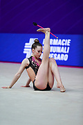 Zorec Iza during the qualification of ribbon at the Pesaro World Cup 2018. She was born in Ljubljana Slovenia in 2000.