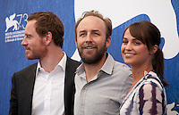 Michael Fassbender, director Derek Cianfrance and actress Alicia Vikander at The Light Between Oceans film photocall at the 73rd Venice Film Festival, Sala Grande on Thursday September 1st 2016, Venice Lido, Italy.