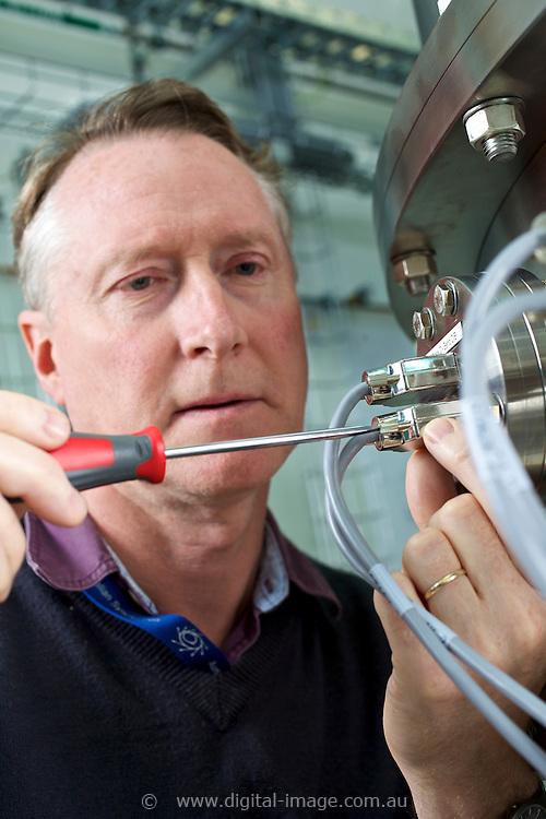Chris Hall working in the Monochromator at the Australian Synchrotron.