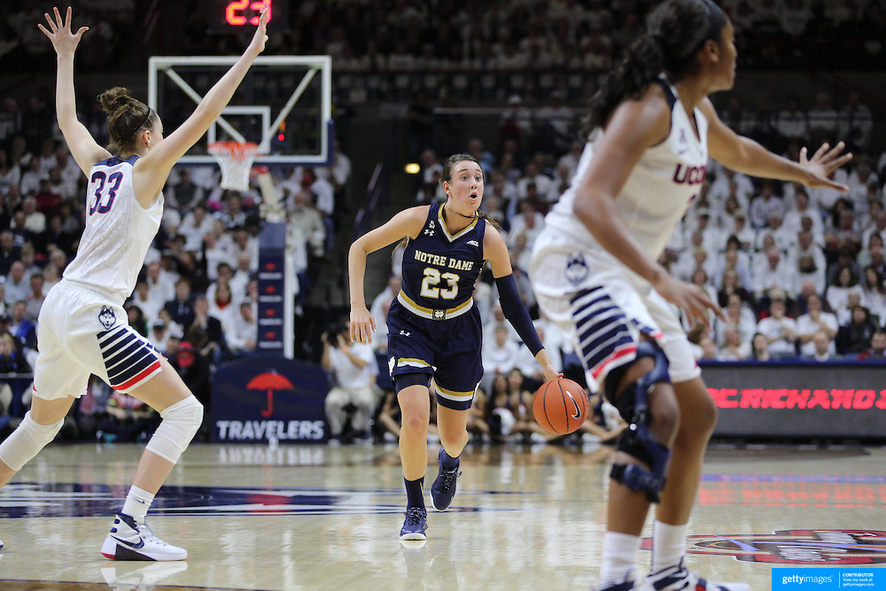 Michaela Mabrey, Notre Dame, in action during the Notre Dame Vs UConn Women's Basketball game at Grampel Pavilion, Storrs, Connecticut, USA. 5th December 2015. Photo Tim Clayton