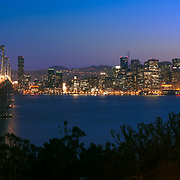 The San Francisco skyline and Bay Bridge are seen from Yerba Buena Island. San Francisco, CA.