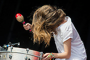 Haim perform on the other stage. The 2014 Glastonbury Festival, Worthy Farm, Glastonbury. 27 June 2013.  Guy Bell, 07771 786236, guy@gbphotos.com
