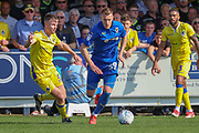AFC Wimbledon striker Joe Pigott (39) dribbling during the EFL Sky Bet League 1 match between AFC Wimbledon and Bristol Rovers at the Cherry Red Records Stadium, Kingston, England on 19 April 2019.