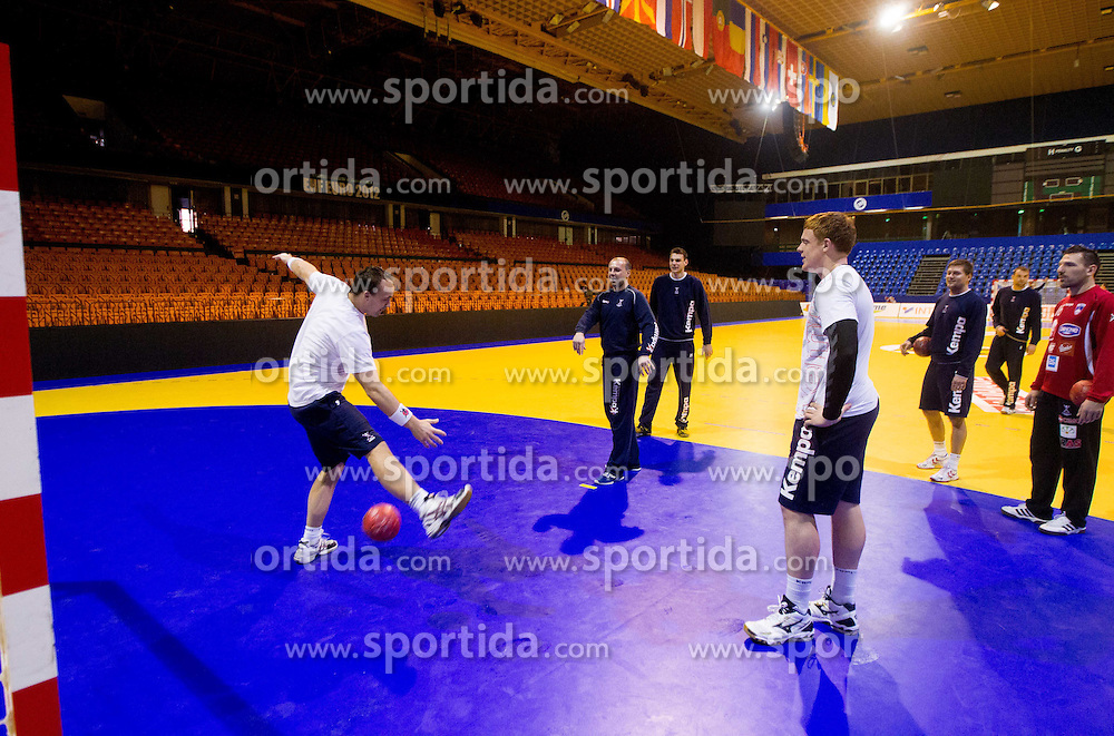 Peter Pucelj, Gorazd Skof of Slovenia and Matej Gaber  during practice session of Slovenia National Handball team during Main Round of 10th EHF European Handball Championship Serbia 2012, on January 21, 2012 in Spens Sports Center, Novi Sad, Serbia. (Photo By Vid Ponikvar / Sportida.com)