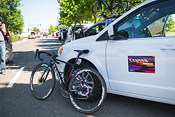 The bike of Leah Thorvilson (USA) of CANYON//SRAM Racing Team is ready for Stage 1 of the Amgen Tour of California - a 124 km road race, starting and finishing in Elk Grove on May 17, 2018, in California, United States. (Photo by Balint Hamvas/Velofocus.com)