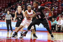 04 January 2015:  Hannah Shores, Stekara Hall, Dyaba Pierre all look for position during a free throw during an NCAA MVC (Missouri Valley Conference) women's basketball game between the Southern Illinois Salukis and the Illinois Sate Redbirds at Redbird Arena in Normal IL