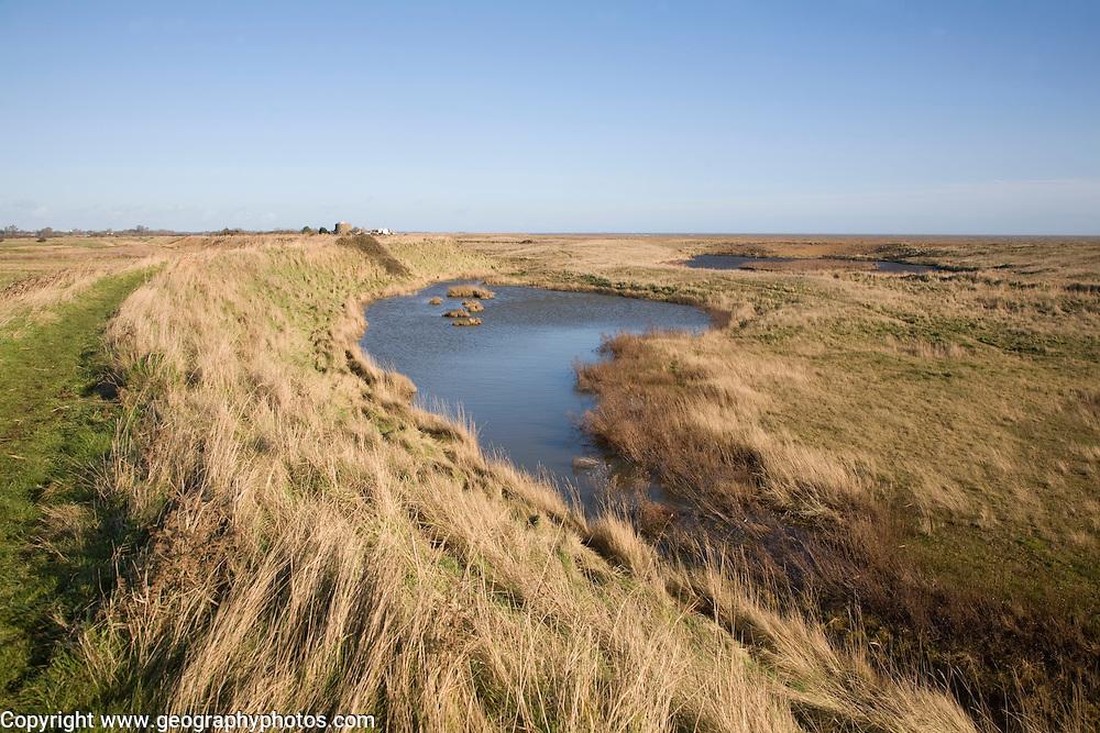 Lagoons behind shingle bay bar Hollesley Bay, near Shingle Street, Suffolk, england