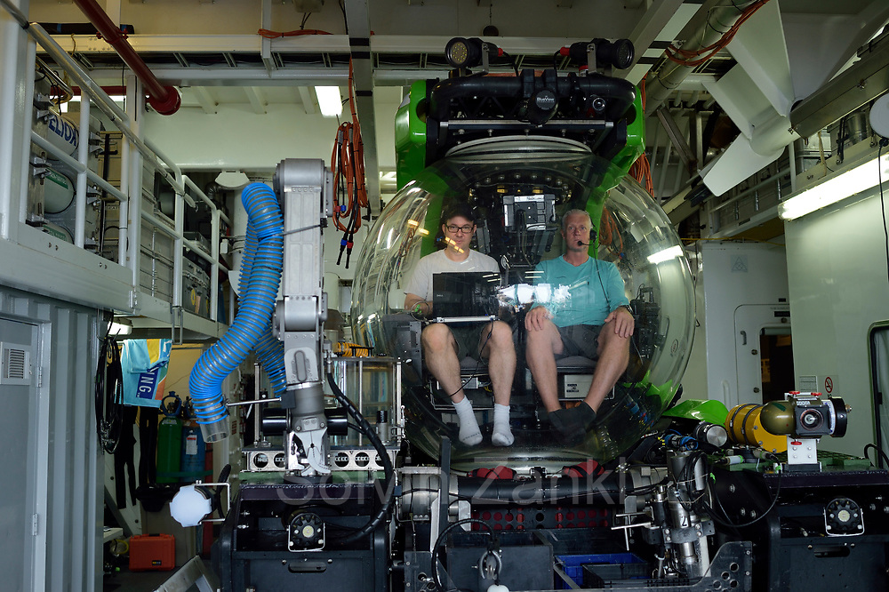 Frieder Klein in submersible Deep Rover with pilot. Central equatorial Atlantic Ocean, Saint Peter and Saint Paul Archipelago, Brazil #STP17 [first published through bioGraphic, a program of the California Academy of Sciences] |