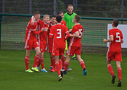 NEWPORT, WALES - Monday, October 14, 2019: Wales' Joshua Thomas (2nd from L) celebrates scoring the second goal with team-mates during an Under-19's International Friendly match between Wales and Austria at Dragon Park. Wales won 2-0. (Pic by David Rawcliffe/Propaganda)