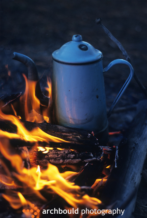 Coffee pot over an open fire
