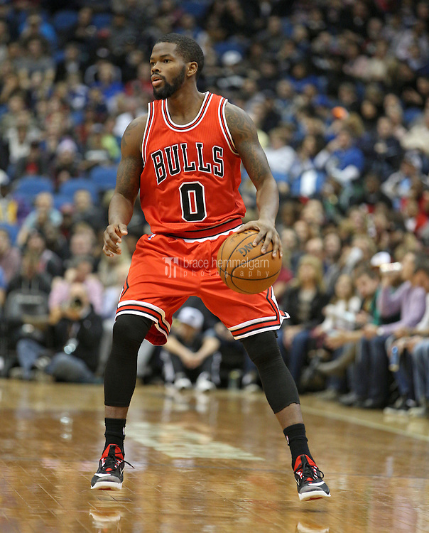 Nov 1, 2014; Minneapolis, MN, USA; Chicago Bulls guard Aaron Brooks (0) against the Minnesota Timberwolves at Target Center. The Bulls defeated the Timberwolves 106-105. Mandatory Credit: Brace Hemmelgarn-USA TODAY Sports