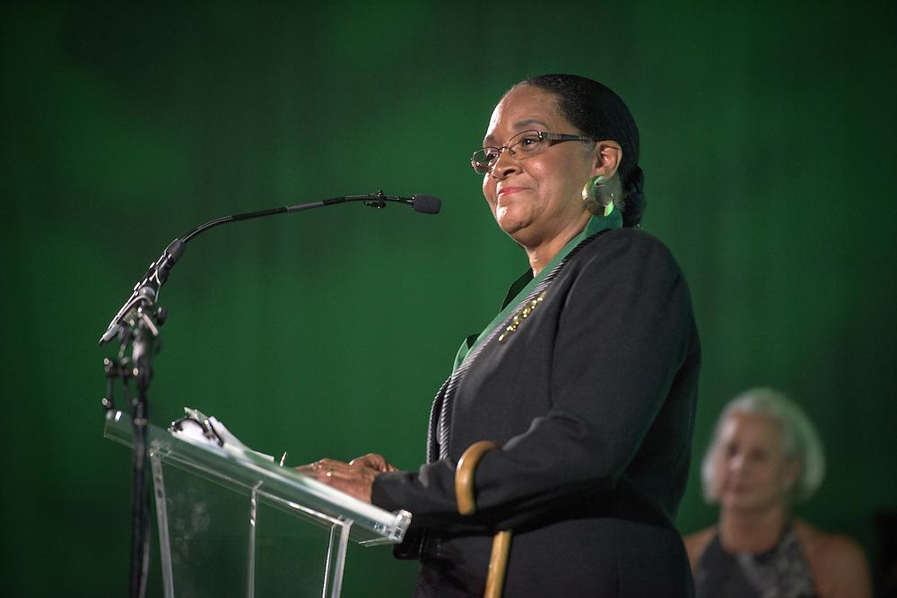 Ohio University First Lady, Deborah McDavis, is named Honorary Alumna during the 2016 Alumni Awards Gala at Ohio University's Baker Center Ballroom on Friday, October 07, 2016.