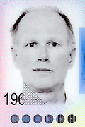 passport identity head and shoulder portrait on document