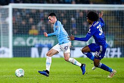 Phil Foden of Manchester City takes on Hamza Choudhury of Leicester City - Mandatory by-line: Robbie Stephenson/JMP - 18/12/2018 - FOOTBALL - King Power Stadium - Leicester, England - Leicester City v Manchester City - Carabao Cup Quarter Finals