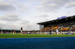 Exeter's players get a feel for the new artificial surface before the first half of the match - Photo mandatory by-line: Rogan Thomson/JMP - Tel: Mobile: 07966 386802 16/02/2013 - SPORT - RUGBY - Allianz Park - Barnet. Saracens v Exeter Chiefs - Aviva Premiership. This is the first Premiership match at Saracens new home ground, Allianz Park, and the first time Premiership Rugby has been played on an artificial turf pitch.