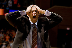 Virginia head coach Dave Leitao reacts to a referee's call.  The Virginia Cavaliers men's basketball team fell to the #3 ranked North Carolina Tar Heels 75-74 at the John Paul Jones Arena in Charlottesville, VA on February 12, 2008.