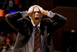 Virginia head coach Dave Leitao reacts to a referee's call.  The Virginia Cavaliers men's basketball team fell to the #3 ranked North Carolina Tar Heels 75-74 at the John Paul Jones Arena in Charlottesville, VA on February 12, 2008.