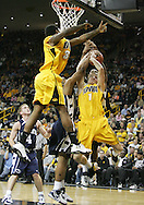 24 JANUARY 2007: Iowa guard Adam Haluska (1), forward Tyler Smith (34), and Penn State forward Jamelle Cornley (2) fight for a rebound in Iowa's 79-63 win over Penn State at Carver-Hawkeye Arena in Iowa City, Iowa on January 24, 2007.