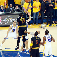12 June 2017: Jump ball between Golden State Warriors center Zaza Pachulia (27) and Cleveland Cavaliers center Tristan Thompson (13) during the Golden State Warriors 129-120 victory over the Cleveland Cavaliers, in game 5 of the 2017 NBA Finals, at the Oracle Arena, Oakland, California, USA.