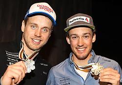 13.02.2017, St. Moritz, SUI, FIS Weltmeisterschaften Ski Alpin, St. Moritz 2017, alpine Kombination, Herren, Audi Lounge,  im Bild v.l. Mauro Caviezel (SUI, Herren Alpine Kombination Bronzemedaille), Luca Aerni (SUI, Herren Alpine Kombination Weltmeister und Goldmedaille) // f.l. men's Alpine Combined Bronze medalist Mauro Caviezel of Switzerland men's Alpine Combined world Champion and Gold medalist Luca Aerni of Switzerland pose at audi lounge with their medals for the men's Alpine combination of the FIS Ski World Championships 2017. St. Moritz, Switzerland on 2017/02/13. EXPA Pictures © 2017, PhotoCredit: EXPA/ SM<br /> <br /> *****ATTENTION - OUT of GER*****