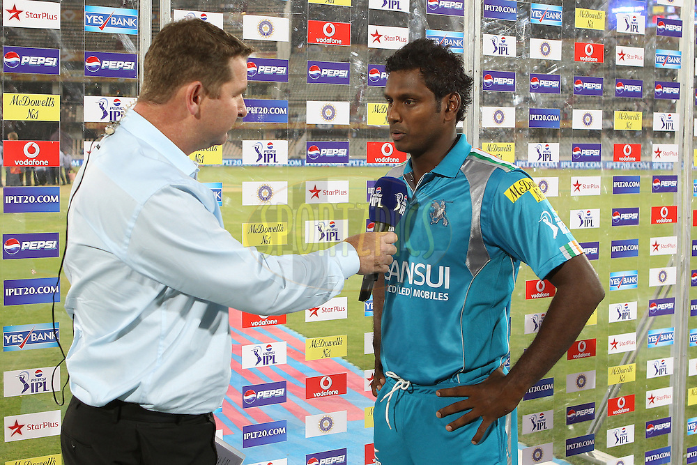 Angelo Mathews is interviewed after the match during match 3 of of the Pepsi Indian Premier League between The Sunrisers Hyderabad and The Pune Warriors held at the Rajiv Gandhi International  Stadium, Hyderabad  on the 5th April 2013..Photo by Ron Gaunt-IPL-SPORTZPICS..Use of this image is subject to the terms and conditions as outlined by the BCCI. These terms can be found by following this link:..http://www.sportzpics.co.za/image/I0000SoRagM2cIEc