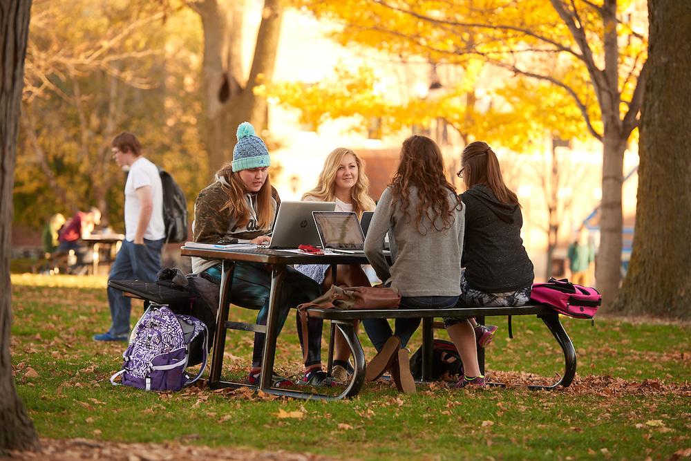 Location; Outside; UWL UW-L UW-La Crosse University of Wisconsin-La Crosse; Picnic table; Drake Field; Fall