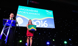 Lincolnshire Sport Awards 2016:<br /> <br /> Lincolnshire Sport Awards 2016 host Conor McNamara and Lincolnshire Sport's Robyn Beebe<br /> <br /> The 2016 Lincolnshire Sport Awards, organised by Lincolnshire Sport, and held at the Showground, Lincoln.<br /> <br /> Picture: Chris Vaughan Photography for Lincolnshire Sport<br /> Date: November 3, 2016