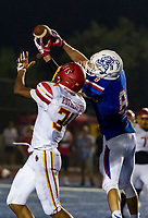 Folsom Bulldogs Parker Clayton (8), int\and runs for a touchdown making the score 24-0 after the point after attempt was good during the second quarter as the Folsom Bulldogs host the Jesuit Marauders,  Friday Sep 1, 2017. The Game was moved to Folsom from Jesuit due to the high temperatures. <br /> photo by Brian Baer