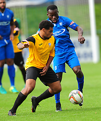 AFC DUNSTABLE MOSES OLALEYE HOLDS OF JORDACE HOLDER SPOONER  MARLOW FC,  AFC Dunstable v Marlow FC Evo Stick League South East, Saturday 9th September 2017<br /> Score 2-1:Photo:Mike Capps