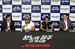 59636421 .Sung Kang, Vin Diesel, Michelle Rodriguez and Luke Evans (L to R) attend a press conference for the premiere of the movie Fast and Furious 6 in Seoul, South Korea, May 13, 2013. Photo by: i-Images.UK ONLY