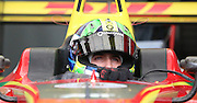 Lucas di Grassi getting ready to go out onto the track during the FIA Formula E Visa London ePrix  at Battersea Park, London, United Kingdom on 28 June 2015. Photo by Matthew Redman.