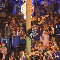 March 28, 2014 - Lexington, Kentucky, USA - University of Kentucky fans celebrate on State Street after their team's come from behind victory over the University of Louisville to advance to the Elite 8 in the NCAA Men's Basketball Tournament. Kentucky won the game 74-69. (Credit Image: © David Stephenson/ZUMA Press)
