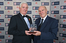 CARDIFF, WALES - Wednesday, November 11, 2009: Wales' special award winner Ken Jones with President Phil Pritchard during the Football Association of Wales Player of the Year Awards hosted by Brains SA at the Cardiff City Stadium. (Pic by David Rawcliffe/Propaganda)