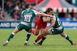 Saracens Inside Centre Brad Barritt (capt) is tackled by Leicester Fly-Half Owen Williams and replacement Ed Slater - Mandatory byline: Rogan Thomson/JMP - 21/05/2016 - RUGBY UNION - Allianz Park - London, England - Saracens v leicester Tigers - Aviva Premiership Semi Final.