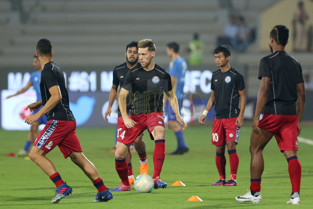 Jamshedpur FC players practise before the start of the match 61 of the Hero Indian Super League between Mumbai City FC and Jamshedpur FC held at the Mumbai Football Arena, Mumbai India on the 1st Feb  2018<br /> <br /> Photo by: Vipin Pawar  / ISL / SPORTZPICS