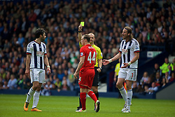 WEST BROMWICH, ENGLAND - Sunday, May 15, 2016: Liverpool's Brad Smith is shown a yellow card for simulation during the final Premier League match of the season against West Bromwich Albion at the Hawthorns. (Pic by David Rawcliffe/Propaganda)